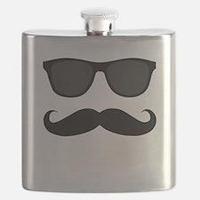 Black Mustache and Sunglasses Flask