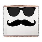 Black Mustache and Sunglasses Woven Blanket