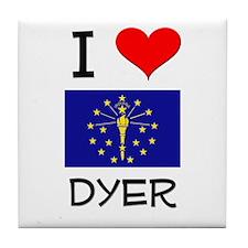 I Love DYER Indiana Tile Coaster