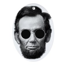 Abe Licoln and Cheap Sunglasses Oval Ornament