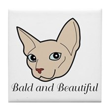Baldy Cat Tile Coaster