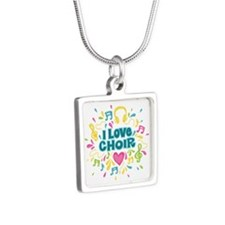 I Love Choir Music Silver Square Necklace