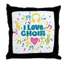 I Love Choir Music Throw Pillow