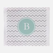 Mint Grey Chevron Throw Blanket