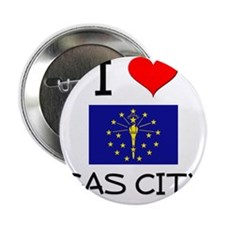 """I Love GAS CITY Indiana 2.25"""" Button"""