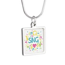 Sing Choir Music Silver Square Necklace