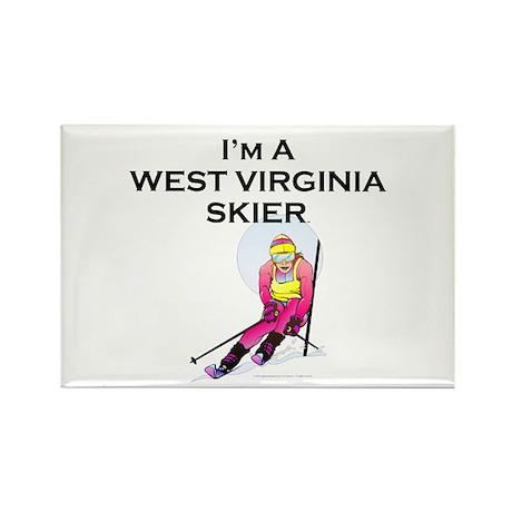 TOP West Virginia Skier Rectangle Magnet (100 pack