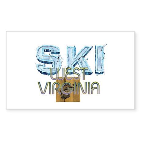 TOP West Virginia Skier Rectangle Sticker