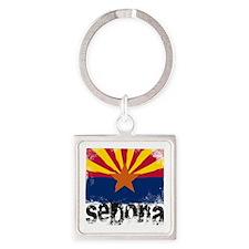Sedona Grunge Flag Square Keychain