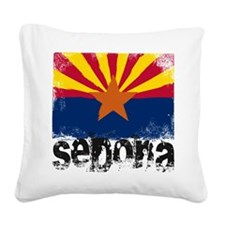 Sedona Grunge Flag Square Canvas Pillow