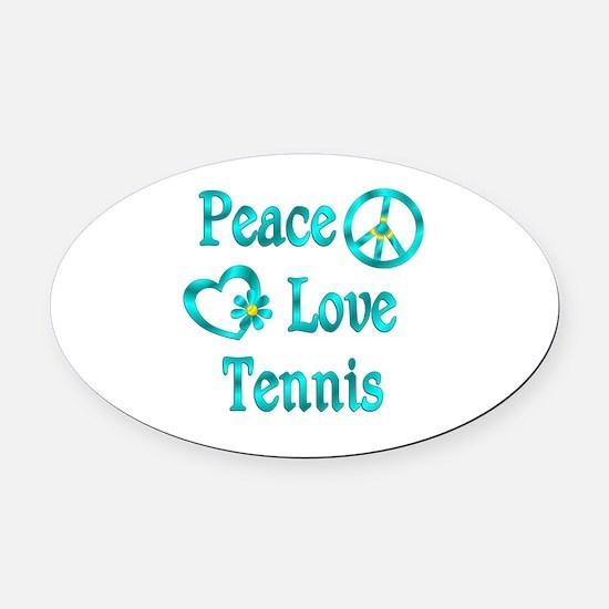 Peace Love Tennis Oval Car Magnet