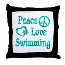 Peace Love Swimming Throw Pillow