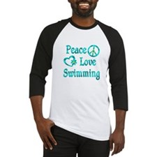 Peace Love Swimming Baseball Jersey