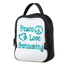 Peace Love Swimming Neoprene Lunch Bag