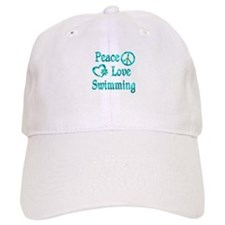 Peace Love Swimming Baseball Baseball Cap