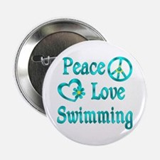 """Peace Love Swimming 2.25"""" Button"""