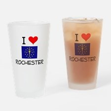 I Love ROCHESTER Indiana Drinking Glass