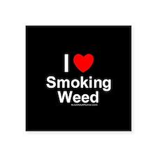 "Smoking Weed Square Sticker 3"" x 3"""