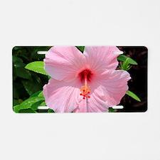 Pink Hibiscus Flower Aluminum License Plate