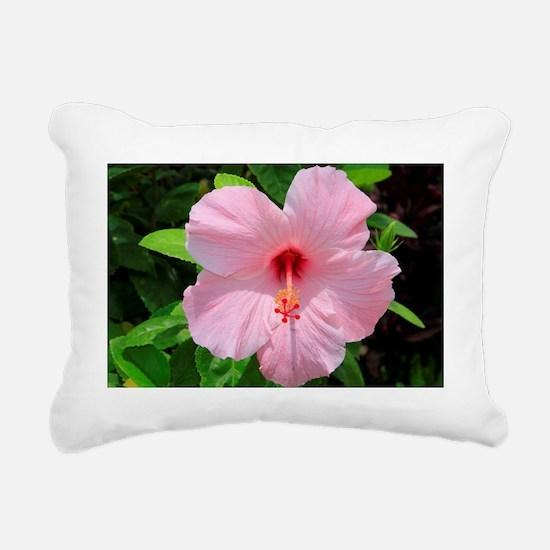 Pink Hibiscus Flower Rectangular Canvas Pillow