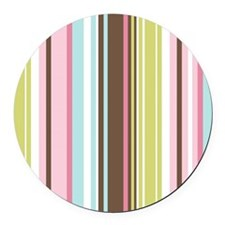 Pink Blue Green Stripes  Round Car Magnet