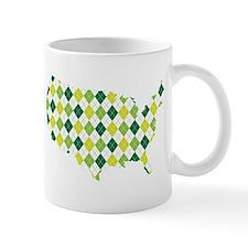 USA Silhouette Green Argyle Pattern Mugs