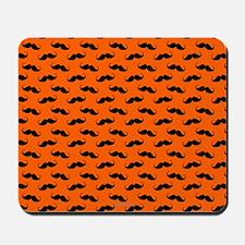 Mustache Design Orange and Black Mousepad