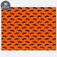Mustache Design Orange and Black Puzzle