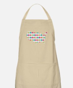 USA Silhouette Colorful Snowcones Apron
