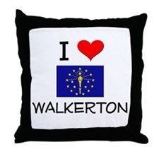 I Love WALKERTON Indiana Throw Pillow