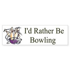 Id Rather Be Bowling Bumper Car Sticker