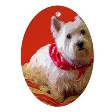 Westie_Riley Oval Ornament