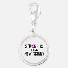 Strong is the New Skinny Girly Silver Round Charm