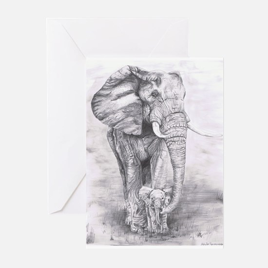 African Elephants Greeting Cards