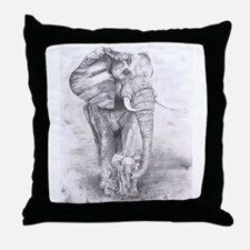 African Elephants Throw Pillow