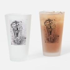 African Elephants Drinking Glass