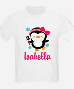 Custom 3rd Birthday Penguin T-Shirt