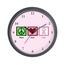 Peace Love Cure (pink) Wall Clock