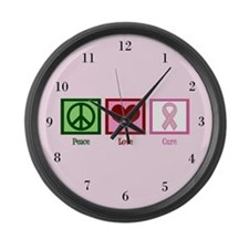 Peace Love Cure (pink) Large Wall Clock