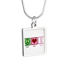 Peace Love Cure (pink) Silver Square Necklace