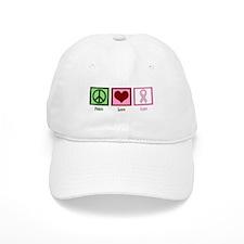 Peace Love Cure (pink) Baseball Cap