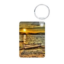 Sun Set over the lake Keychains