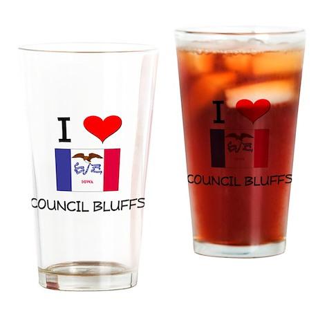 I Love Council Bluffs Iowa Drinking Glass