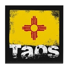 Taos Grunge Flag Tile Coaster