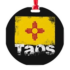 Taos Grunge Flag Ornament
