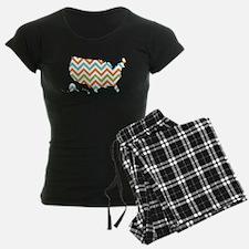 USA Silhouette Colorful Zig Zags Pajamas