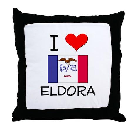 I Love Eldora Iowa Throw Pillow