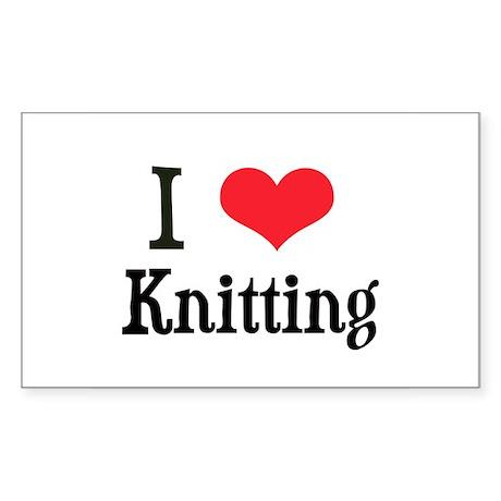 I Love Knitting Rectangle Sticker