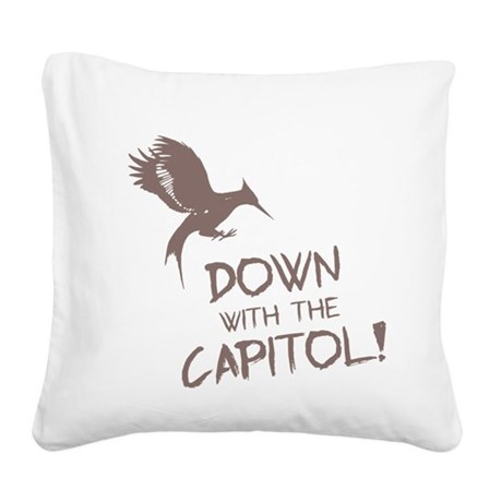 Hunger Games Down With the Ca Square Canvas Pillow