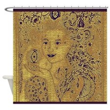 Artisan Shower Curtain in Sand and Purple